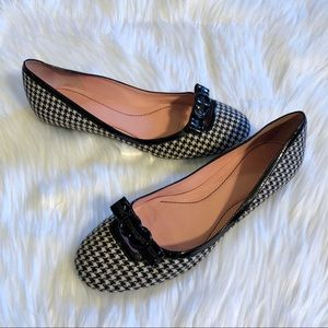 COLE HAAN Black & White Houndstooth Ballet Flats